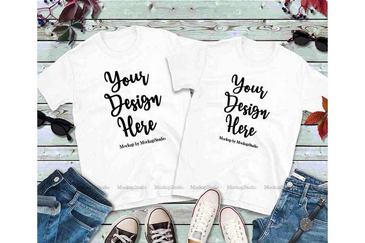 Matching Couples White T-Shirts Mockup, Two Shirts Mock Up example image 1