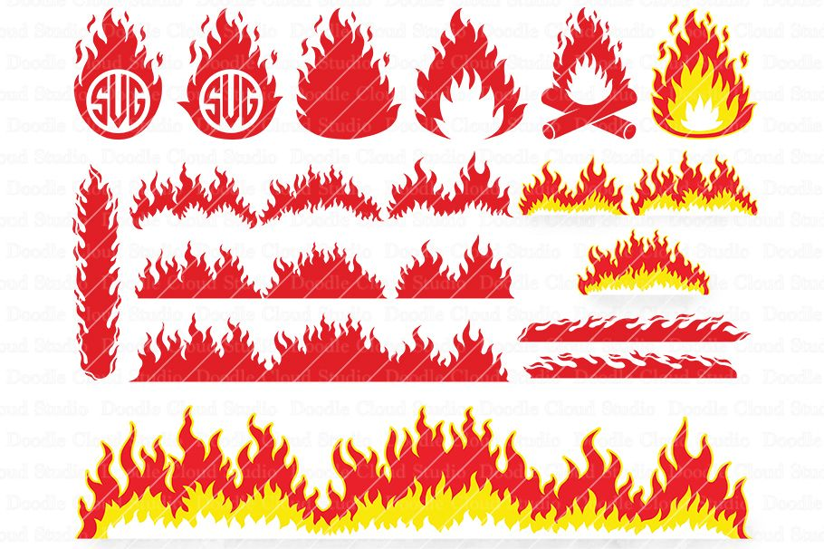 Fire SVG, Flames SVG, Flame Monogram, Flame Clipart, example image 1
