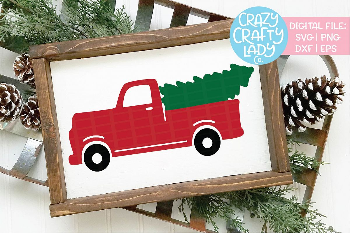 Christmas Tree Truck SVG DXF EPS PNG Cut File example image 1
