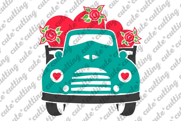Valentines day svg, Valentines truck svg, truck front svg example image 1
