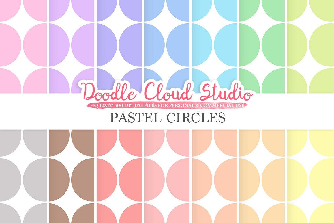 Pastel Retro Circles digital paper, Circles pattern, Digital Circles, pastel background, Instant Download for Personal & Commercial Use example image 1