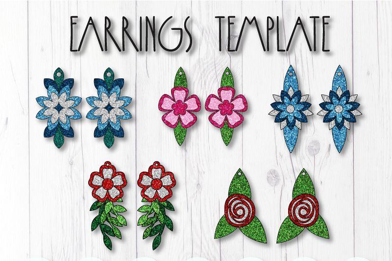 Flower earrings template SVG, DIY earrings template bundle example image 1