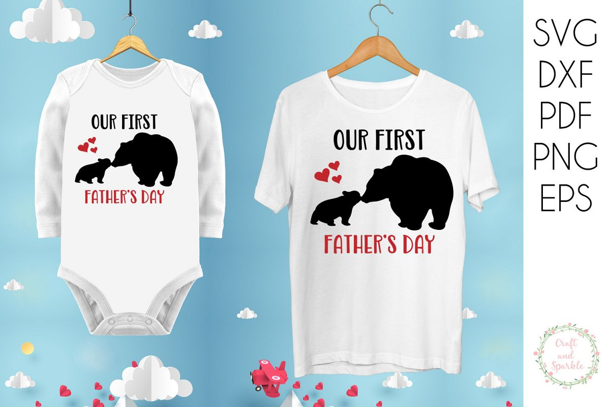 Our First Father's day - Father Son Daughter svg example image 1