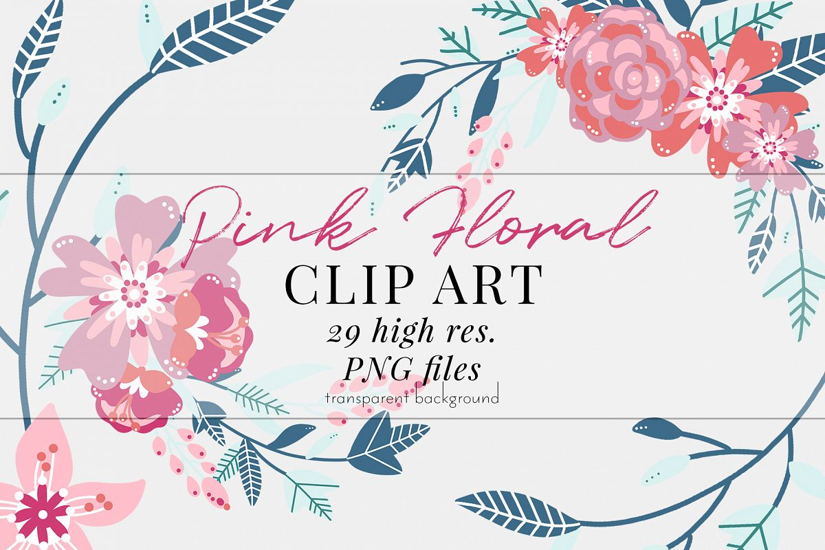 Pink Floral Clip Art, Pink Blush, Bouquets Scrapbooking, PNG example image 1