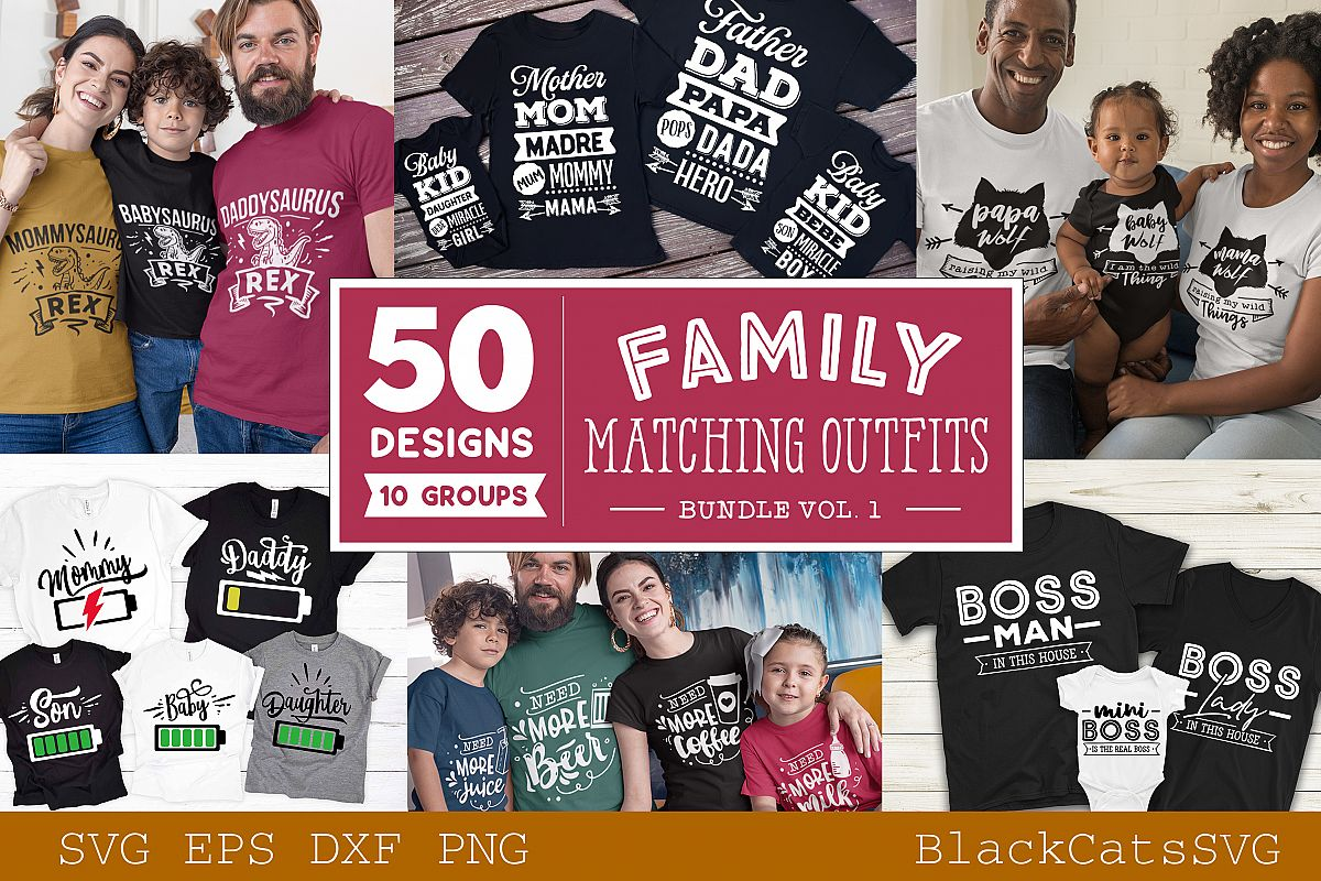 Family matching outfits SVG bundle 50 designs vol 1 example image 1