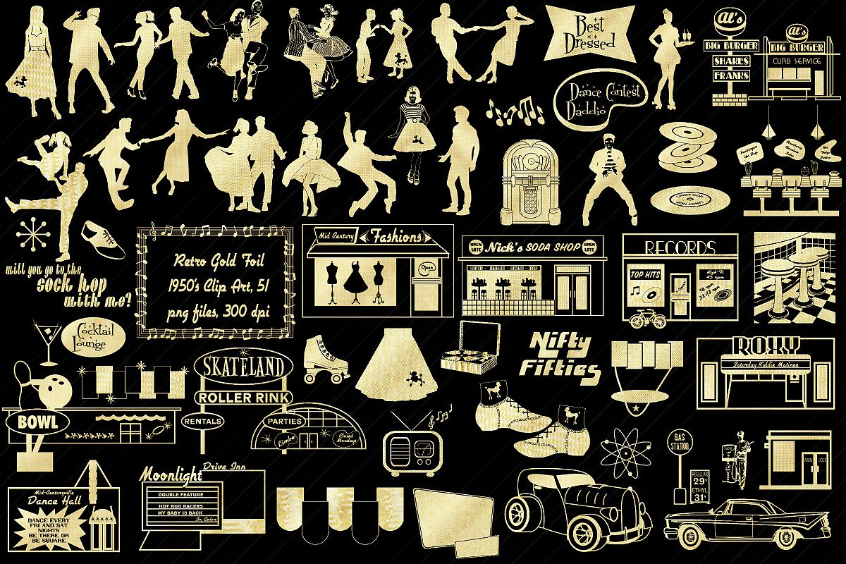 Retro 1950s Gold Foil Life and Party ClipArt example image 1