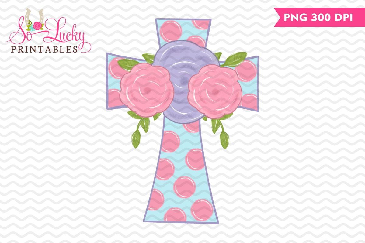 Cross with Flowers painted printable sublimation desig example image 1