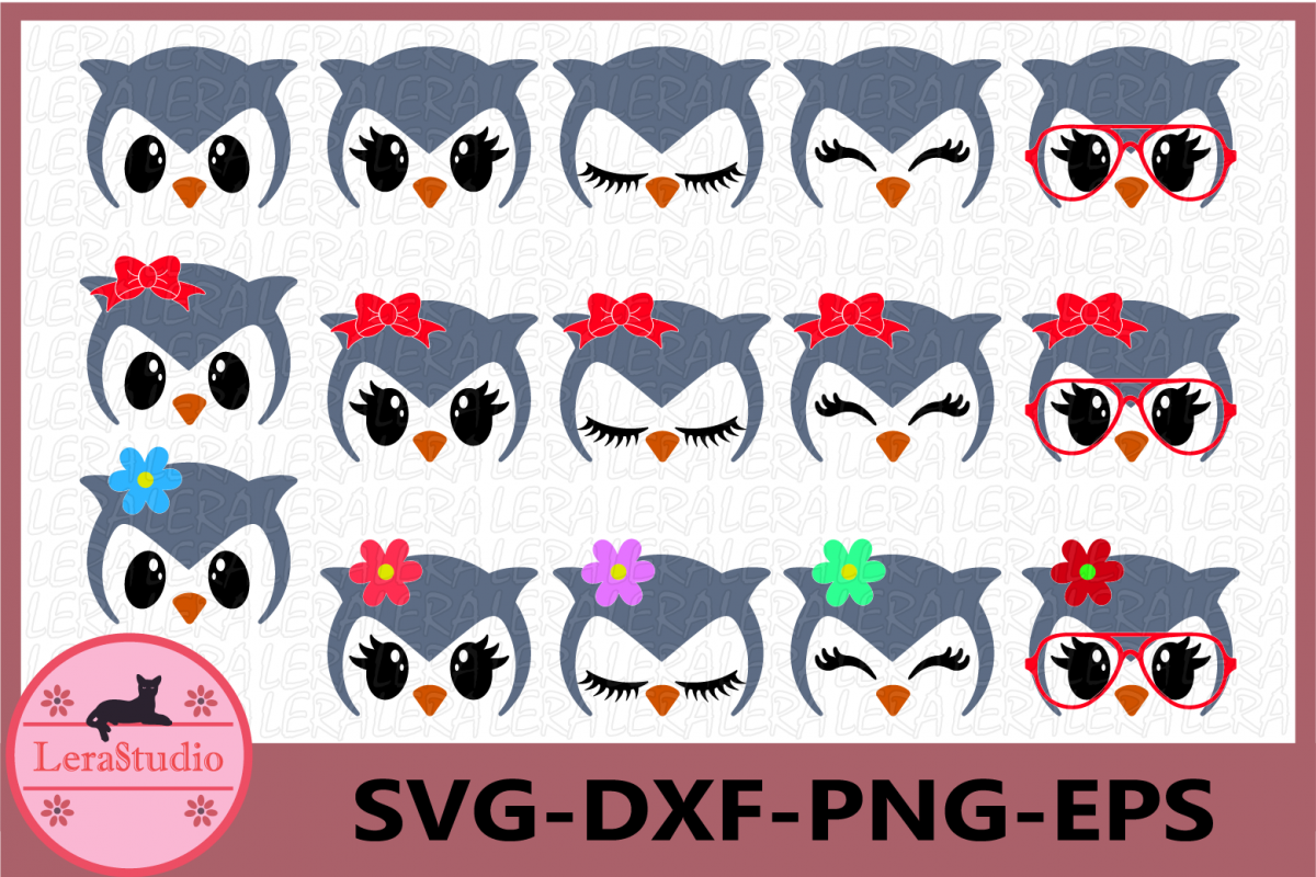 Owl Face SVG, Animal face svg, Owl Eyelashes Face, Owl Face example image 1