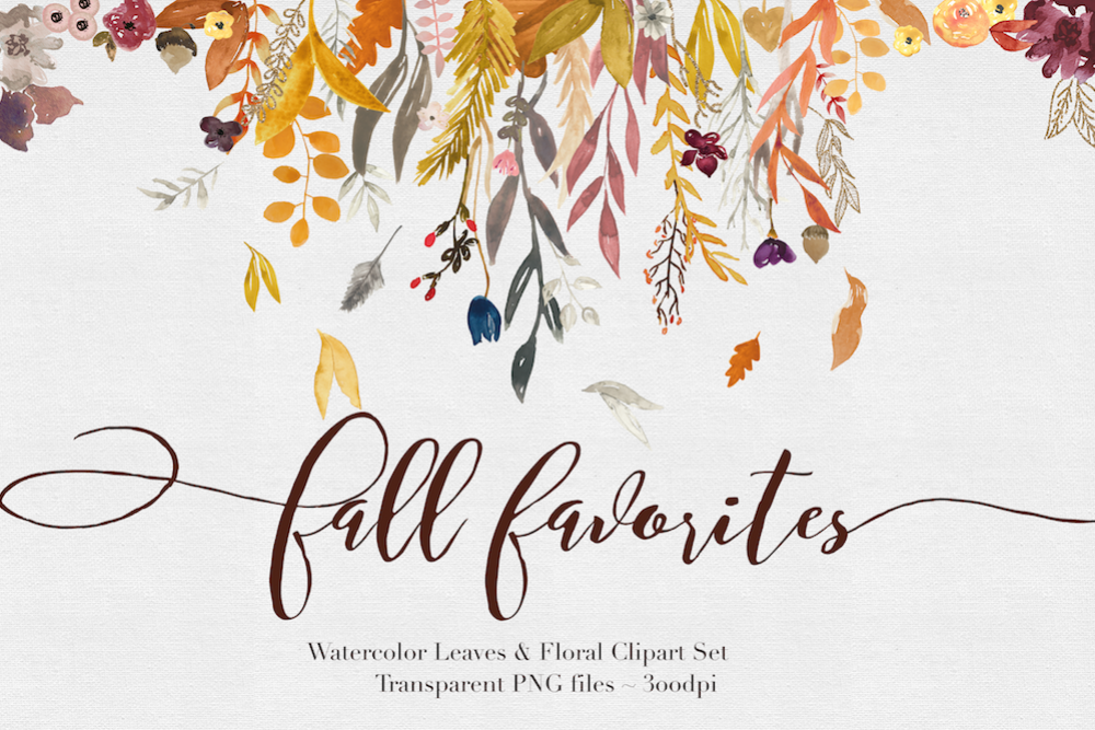 Fall Watercolor Clipart example image 1