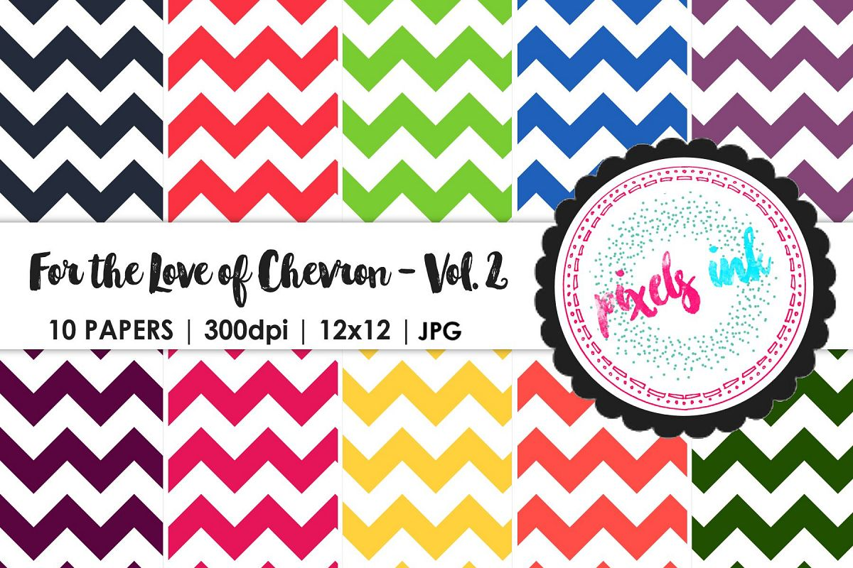 Bright and Cheerful Chevron Digital Paper-Seamless example image 1