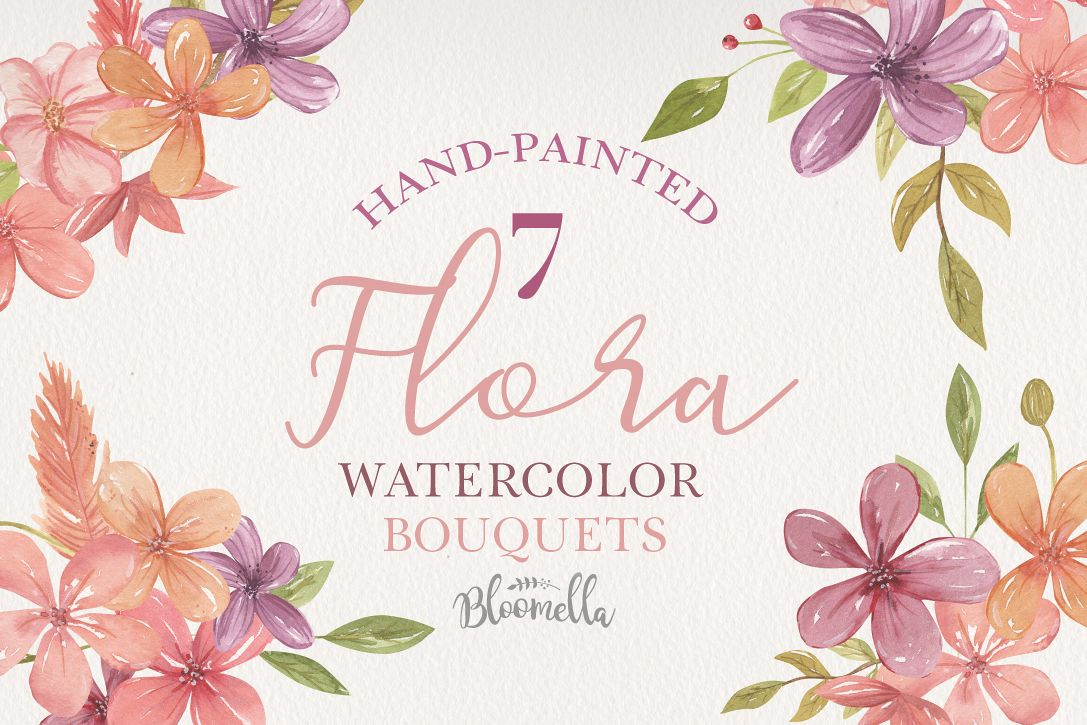 Floral Flowers 7 Bouquets Watercolor Florals Pink Purple example image 1