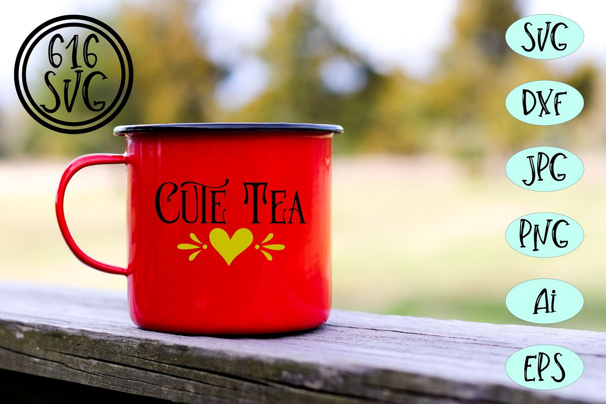 Cute tea SVG, DXF, Ai, PNG example image 1