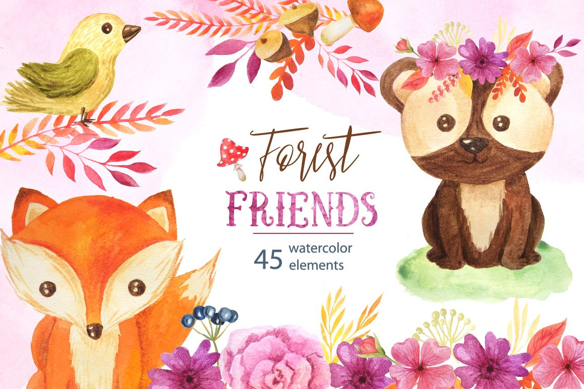 Watercolor Forest Animals Set example image 1