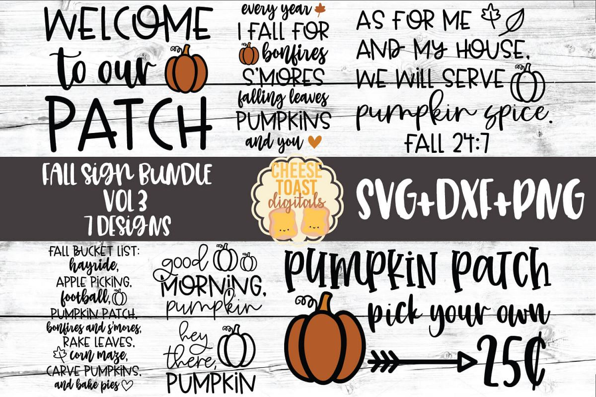 Fall Sign Bundle Vol 3 - Autumn SVG PNG DXF Cut Files example image 1