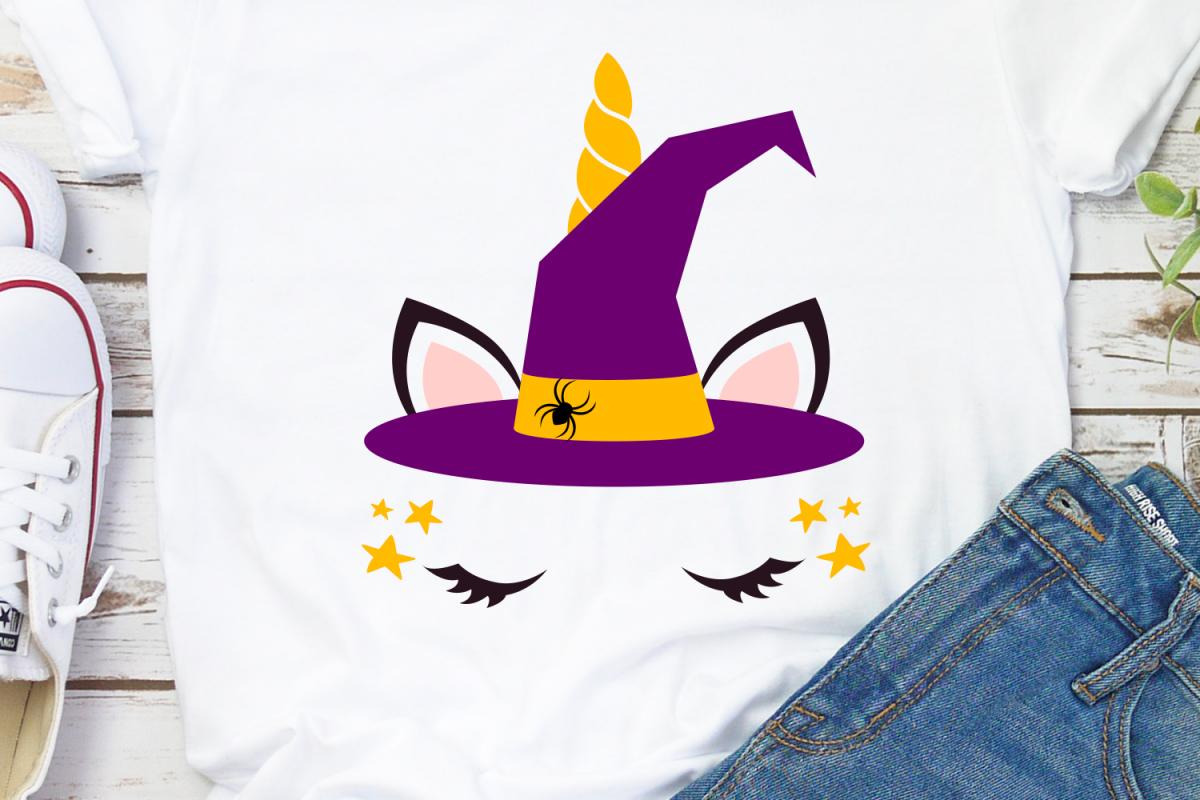 Witch Unicorn Svg, Girl Halloween Costume, Halloween Unicorn example image 1