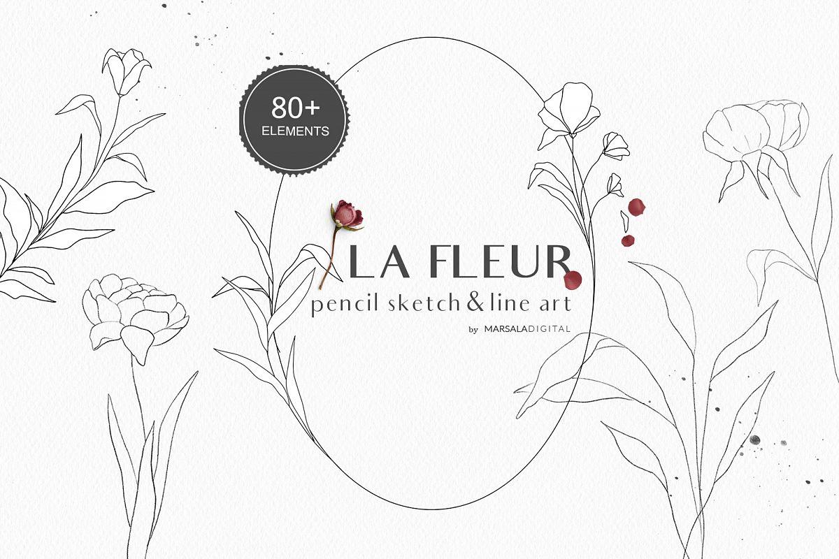 Floral Pencil Sketches Line Art - La fleur example image 1