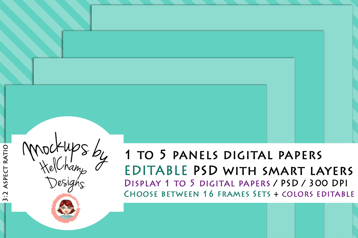 1 to 5 Panels Mockup for Digital Papers - M01 example image 1