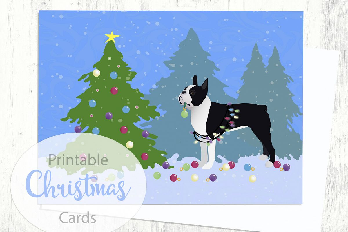 Black Boston Terrier Christmas Card - Christmas Forest - Digital ...