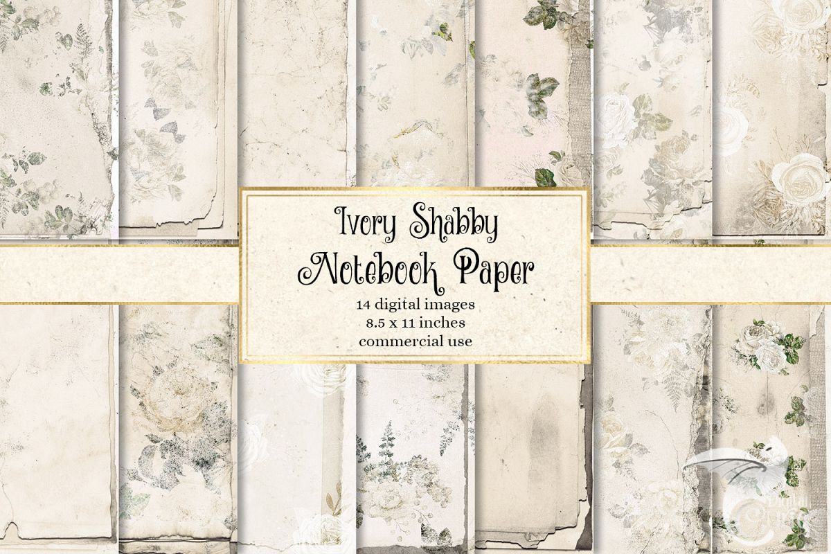 Ivory Shabby Notebook Paper example image 1
