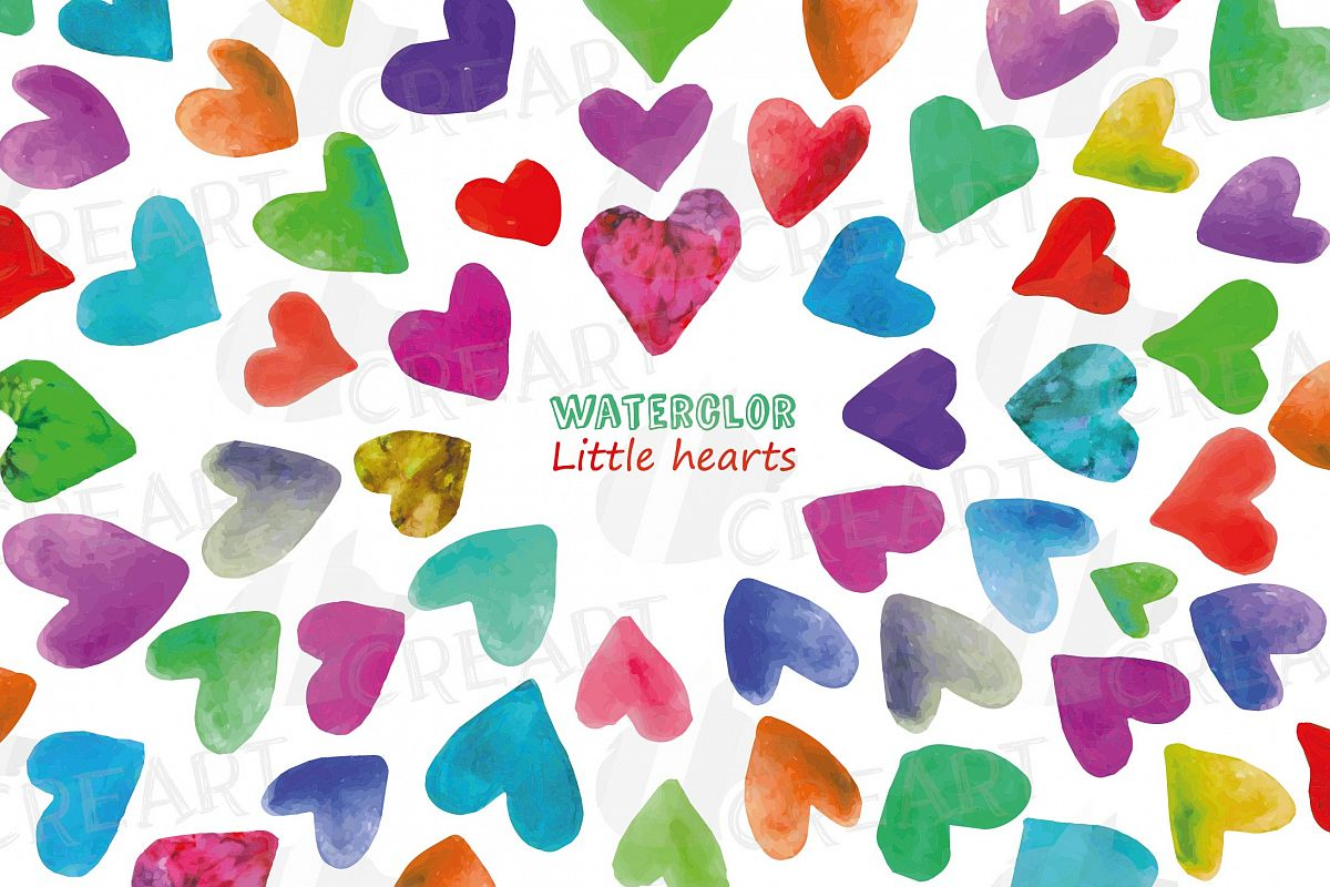 Watercolor little hearts clip art, colorful Valentine example image 1