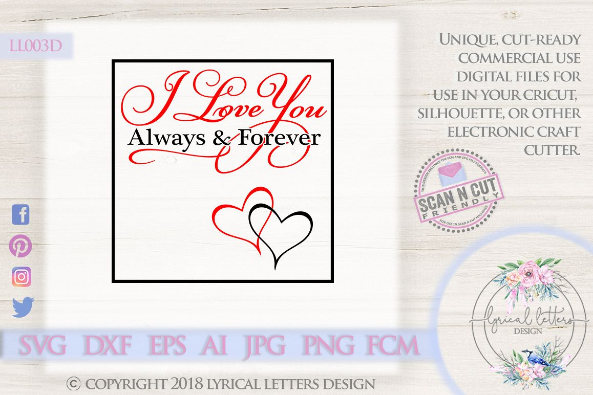 I love You Always and Forever Valentine's Day SVG DXF LL003D example image 1