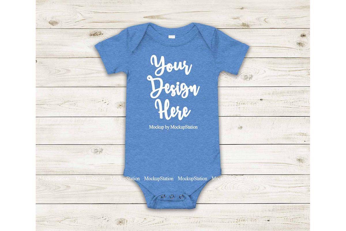 Baby Heather Blue Bodysuit Mockup, Blank Toddler One Piece example image 1