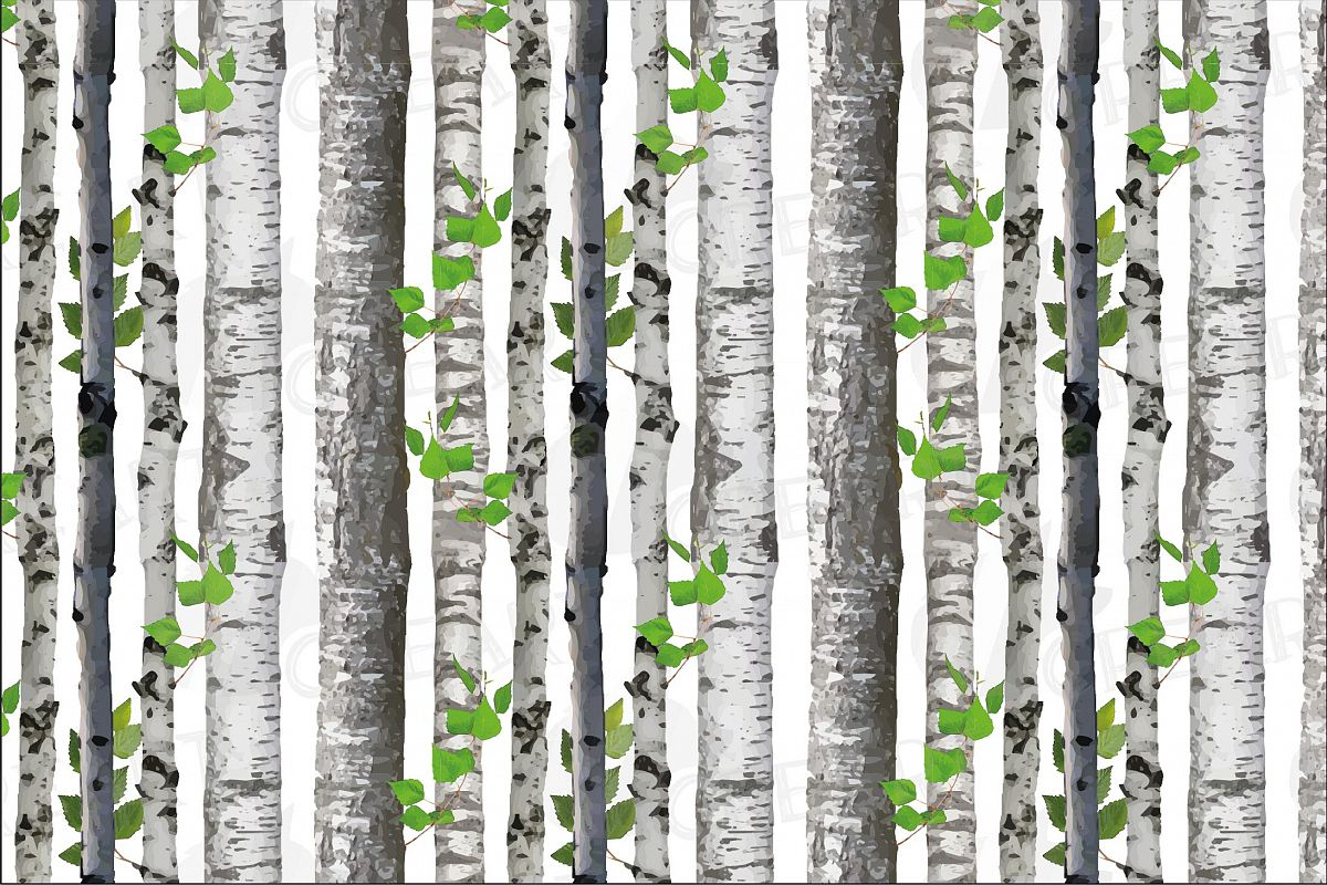 Seamless birch tree vector watercolor pattern. Birch barks example image 1