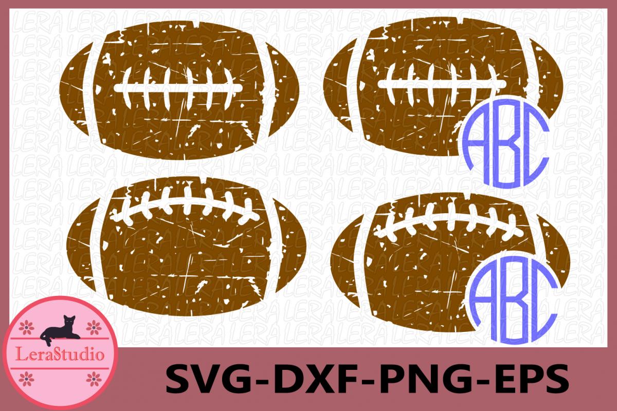 Football Grunge SVG, Football svg, Sport Ball Monogram svg example image 1