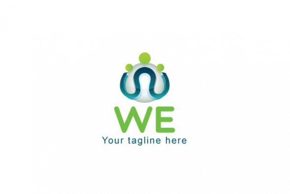WE - Community / Group 3d Stock Logo Design Template example image 1