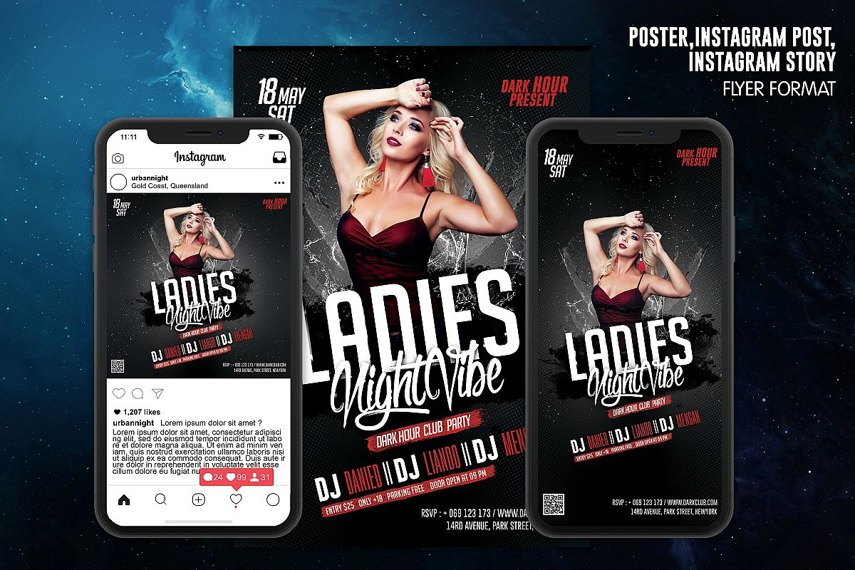 Ladies Night Vibe Club Template example image 1