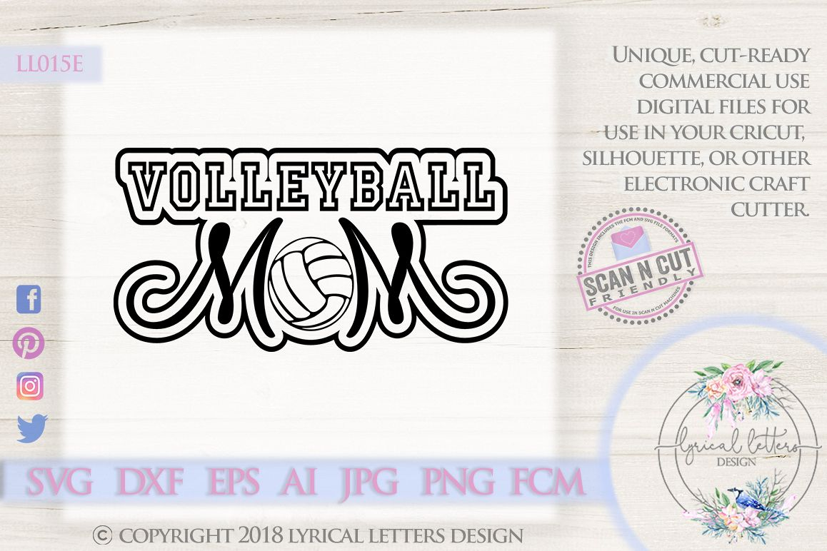 Volleyball Mom SVG DXF FCM Cut File LL015E example image 1