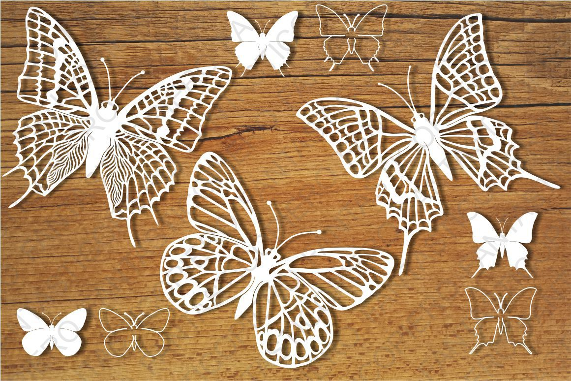 Butterflies set 4 SVG files for Silhouette and Cricut. example image 1