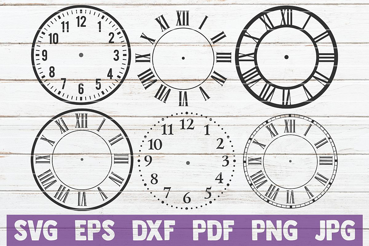 Clock Face Bundle | SVG Cut Files example image 1