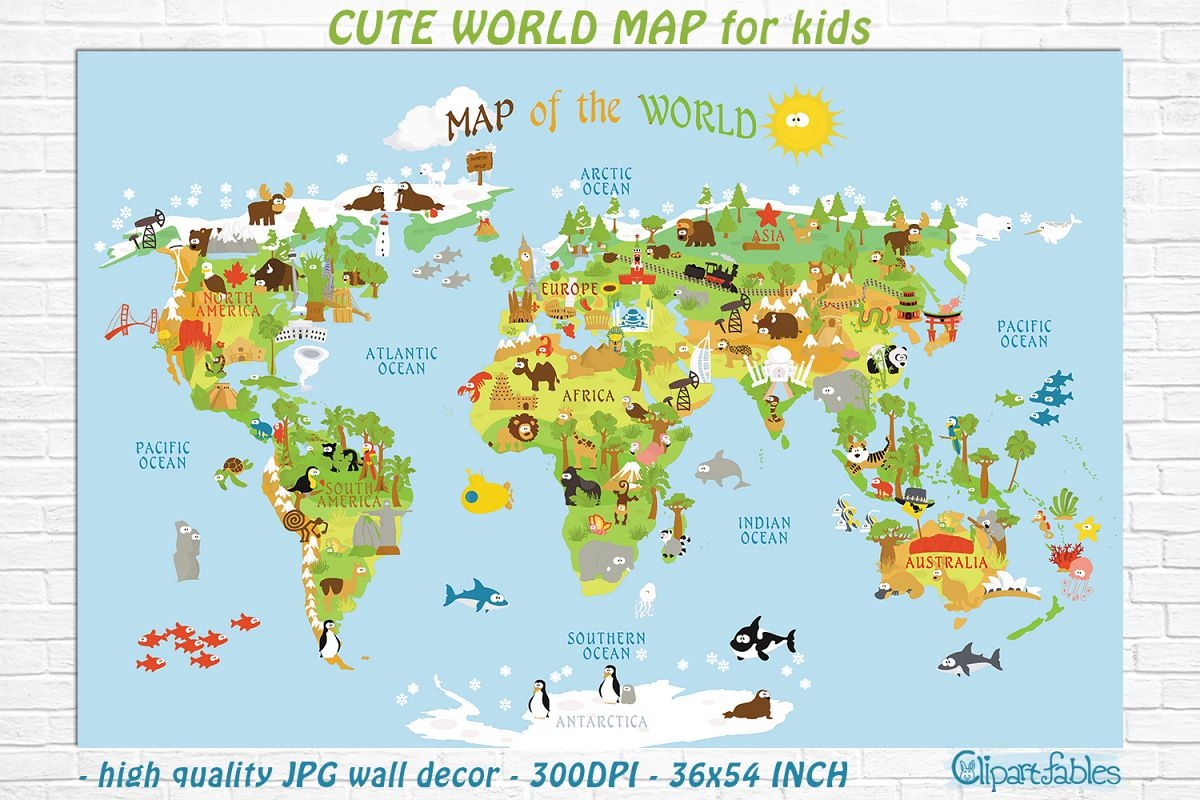 Cute Printable WORLD MAP for kids - gender neutral room ...