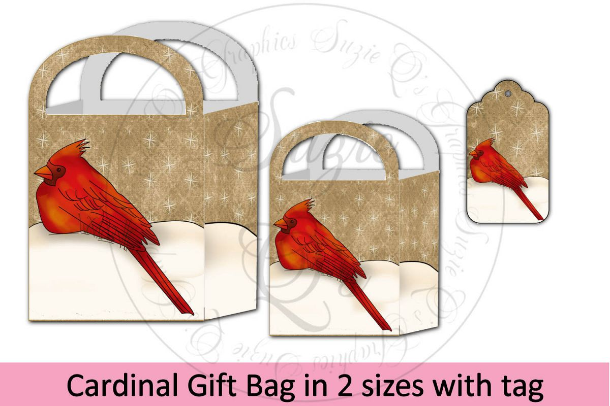 Cardinal Gift Bag in two sizes with tag example image 1
