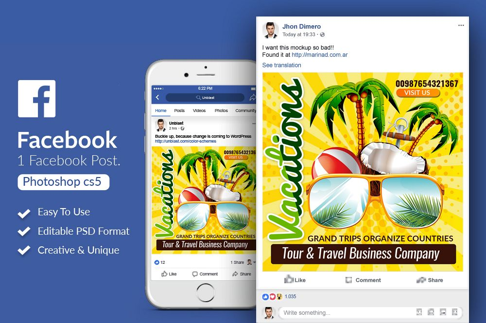Tour & Holiday Facebook Post Banner example image 1