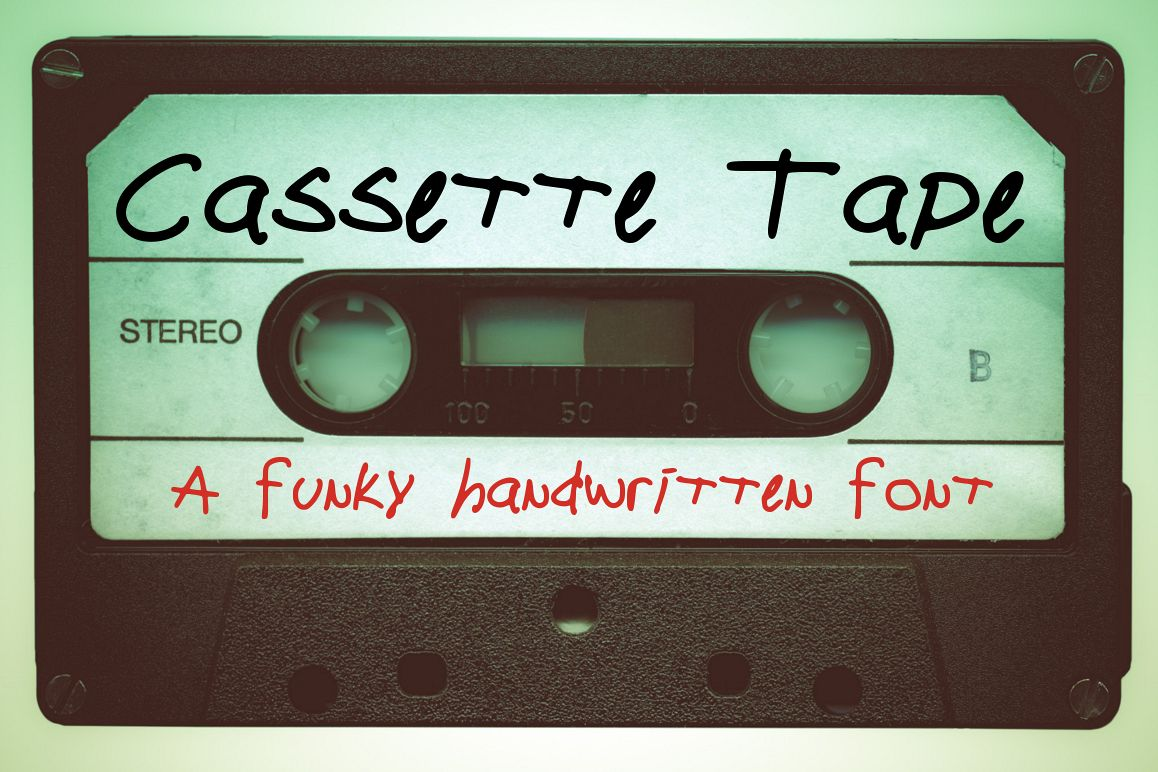Cassette Tape a Funky Handwritten Font example image 1