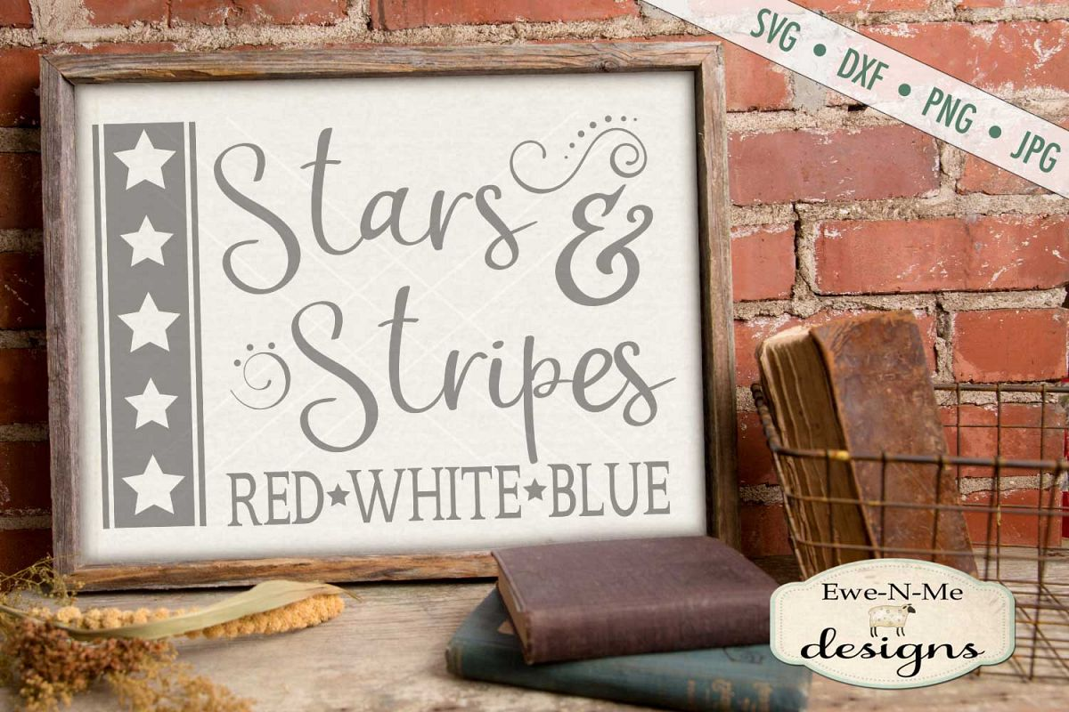 Stars and Stripes Red White Blue SVG DXF Files example image 1