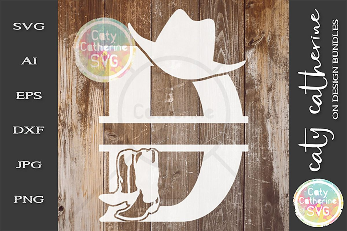 Letter D Cowboy Monogram SVG Includes Cowboy Boots example image 1