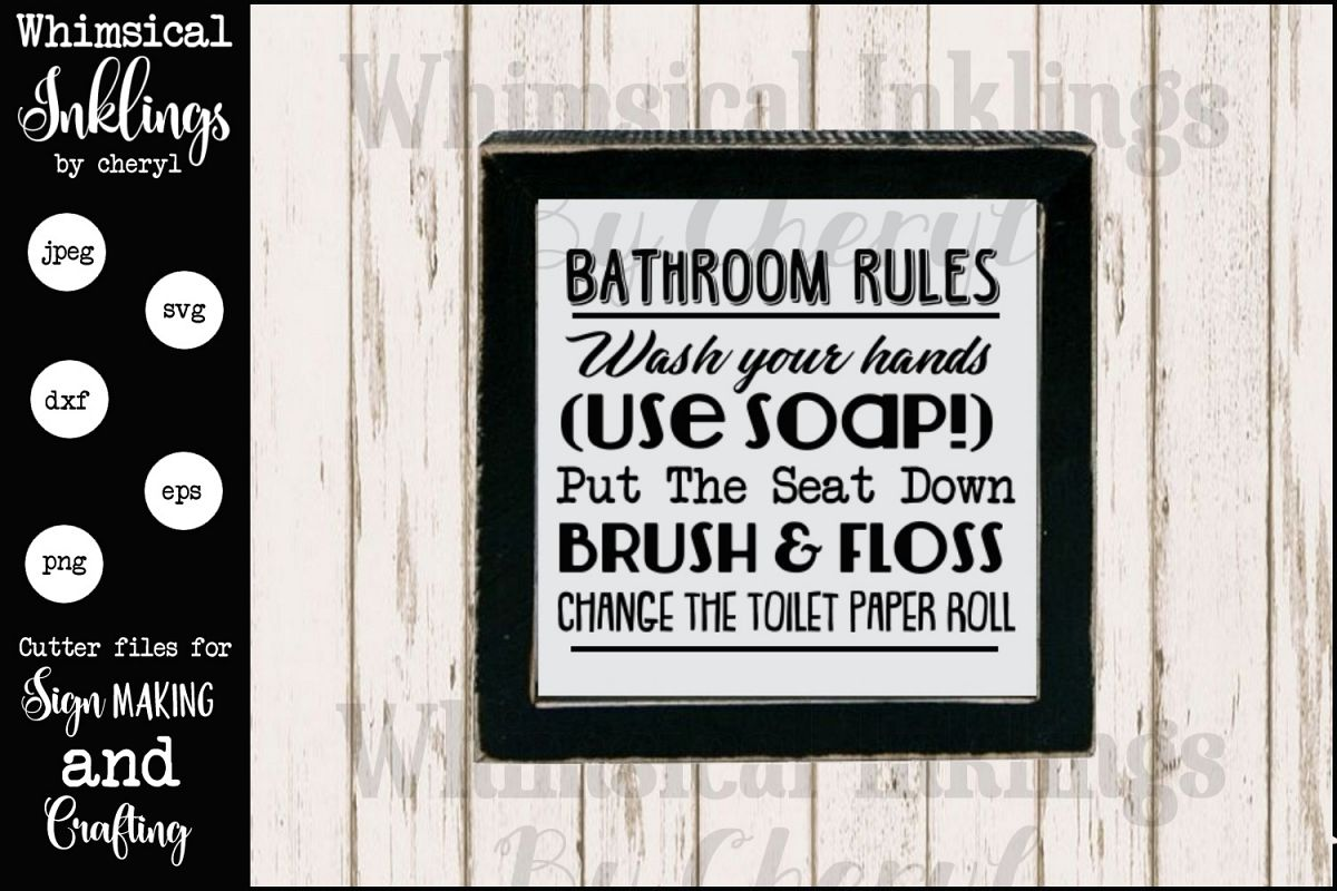 Magnificent Bathroom Rules Sign Svg Bundle Interior Design Ideas Ghosoteloinfo