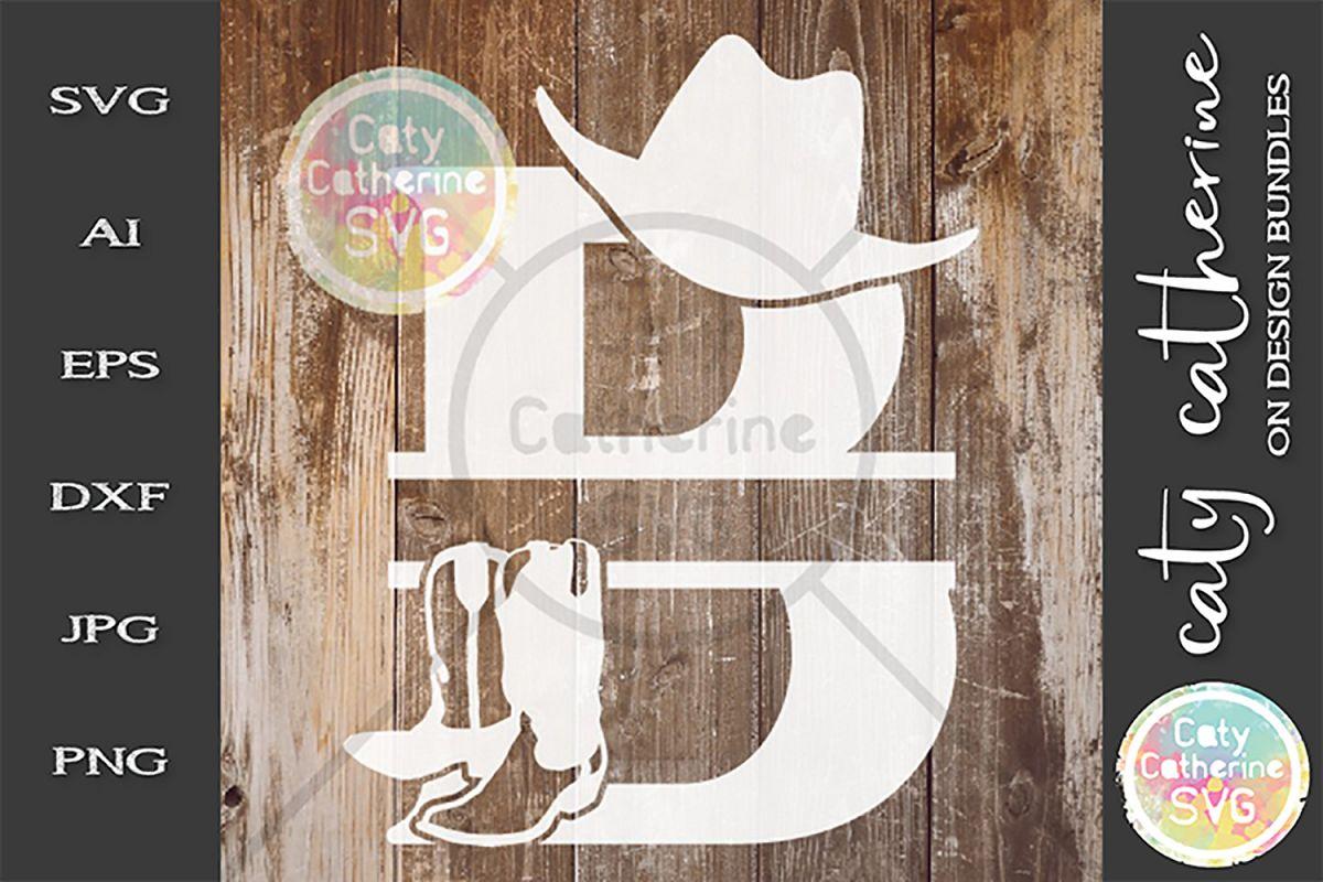 Letter B Cowboy Monogram SVG Includes Cowboy Boots example image 1