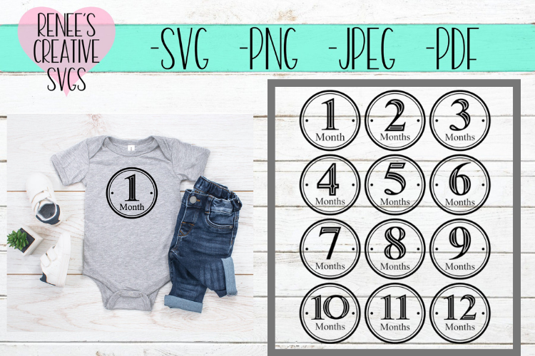 Baby Monthly Milestone Bundle  Monthly SVG   SVG Cut File example image 1