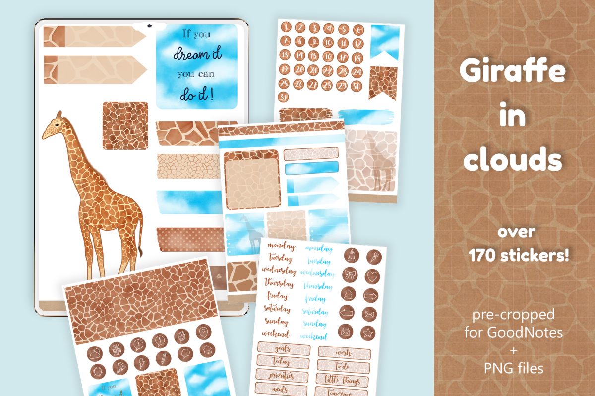 GoodNotes 5 | Digital Stickers - Giraffe and Clouds example image 1