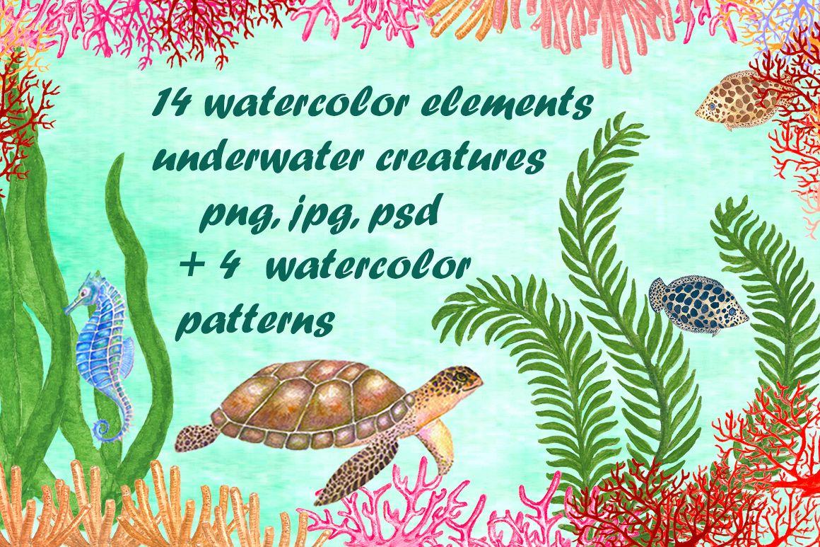 Set of watercolor sea creatures example image 1
