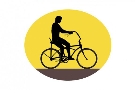 Man Riding Easy Rider Bicycle Silhouette Oval Retro example image 1