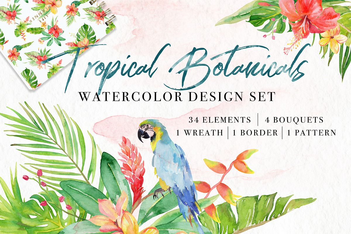 Tropical Botanicals Watercolor Set example image 1