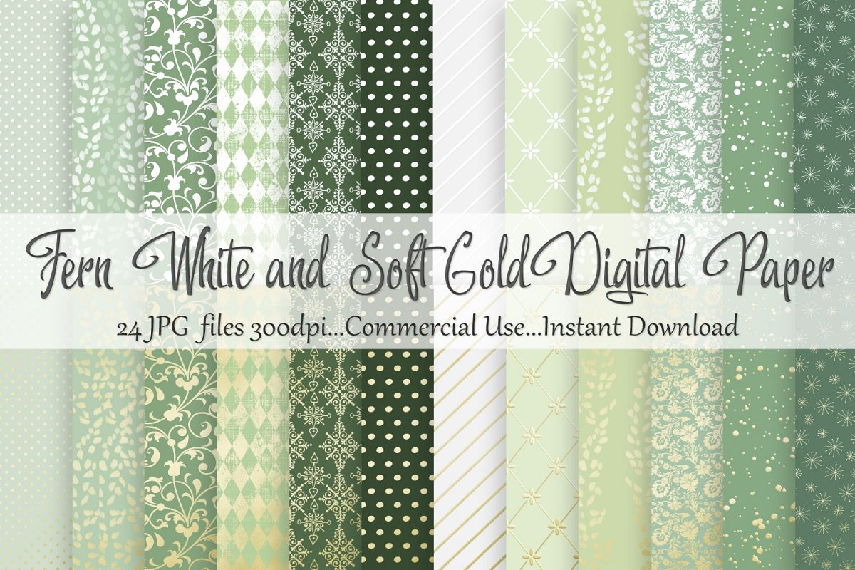 Fern White and Soft Gold Digital Paper example image 1