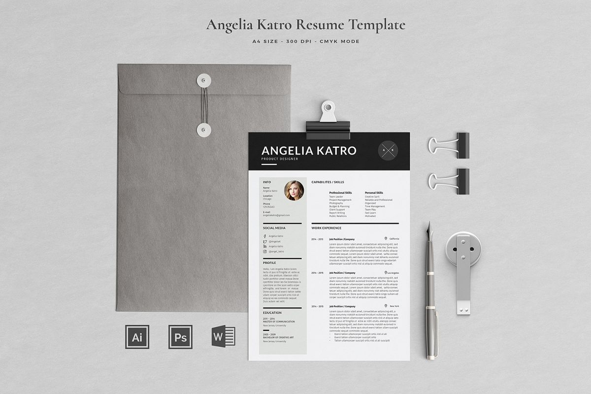 Angelia Resume with Cover Letter Professional Template example image 1