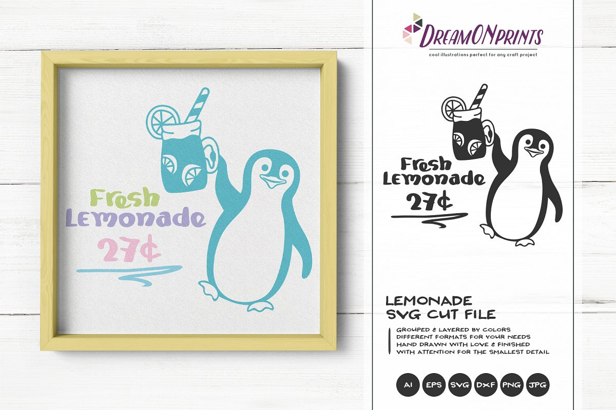 Fresh Lemonade SVG | Penguin Summer SVG | Watermelon example image 1