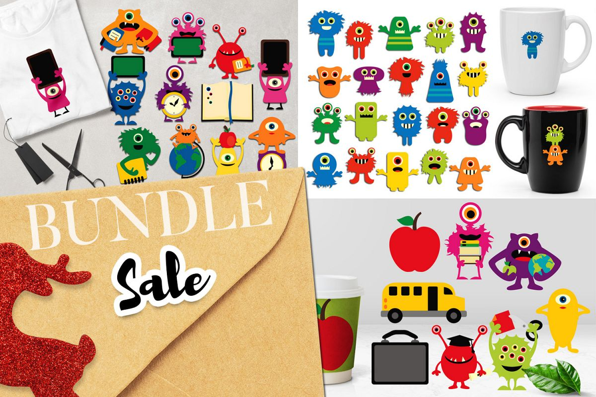 Back to school monsters clip art graphics bundle example image 1